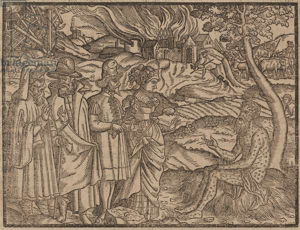 Job Covered With Boils c.1525 (woodcut)