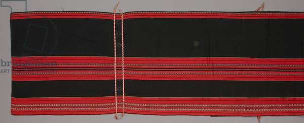 Hanging, perhaps to support a curtain room divider, 20th century (cotton and metal beads; warp-faced plain weave with warp stripes and warp-patterned stripes)