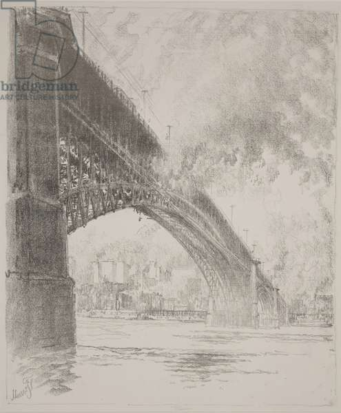 East Bridge, St Louis, 1919 (litho)