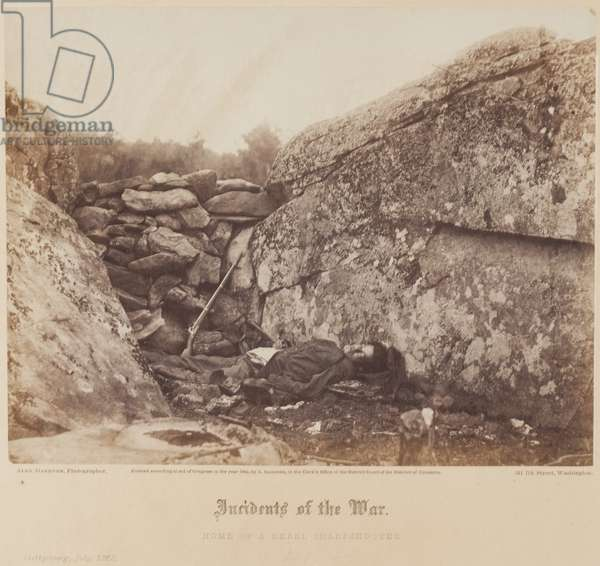 Home of a Rebel Sharpshooter, Gettysburg, July, 1863 (albumen print from collodion negative)