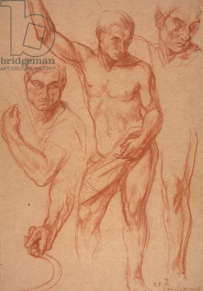 "Male figure study with re-studies of head, arms, shoulder, and leg (sketches for centre panel of ""Autumn""), April 8, 1918 (pencil & chalk on paper)"