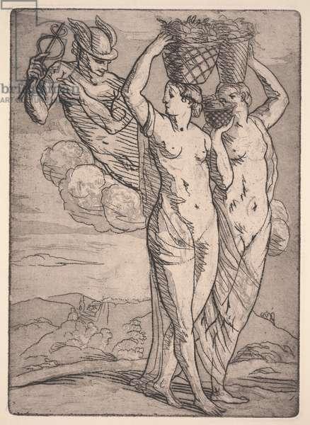 Mercury and Two Women (etching & aquatint)
