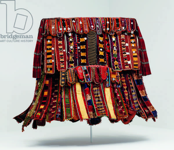 Egungun costume, 1920-50 (cotton, silk & wool fabric with metal, leather, mirrors, cotton & wood)