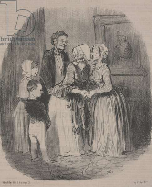 The Obligatory New Years Visit to Aunt Rabourdin, 1847 (lithograph)