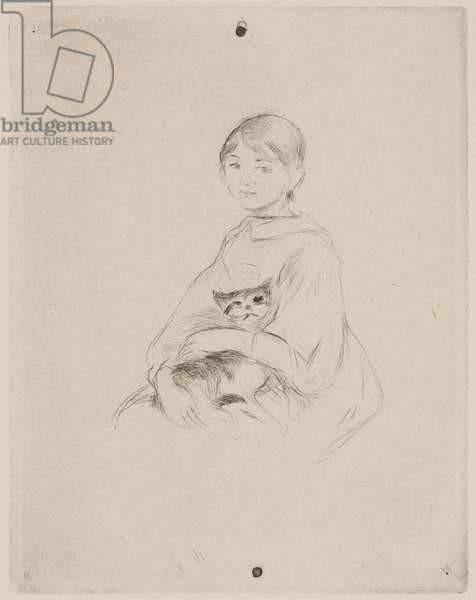 Young Girl with Cat (Julie Manet), 1889 (drypoint)