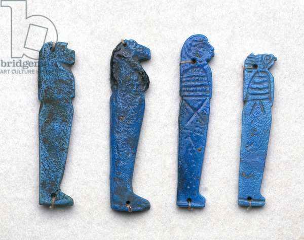 Amulet of a Son of Horus, Greco-Roman period, 332 BC-395 AD (blue faience)