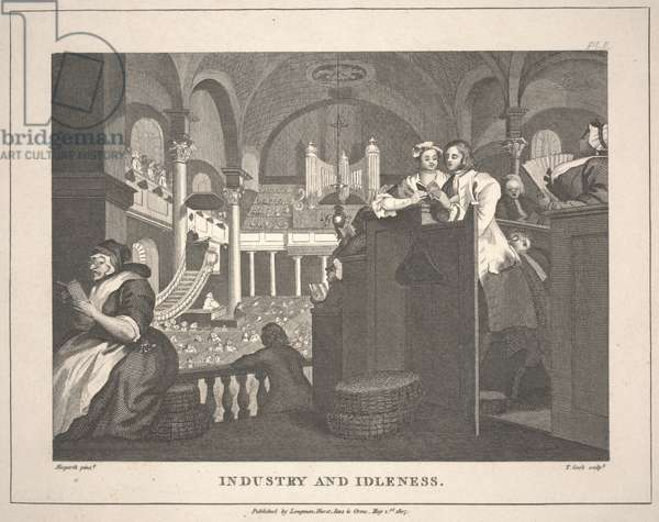 Industry and Idleness [after Hogarth's The Industrious 'Prentice Performing the Duty of a Christian], 1807 (engraving)