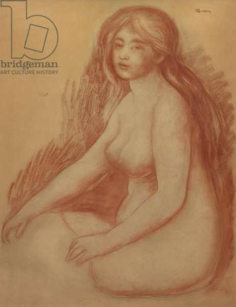 The Bather, 1880-81 (red chalk on wove tissue paper mounted on board)