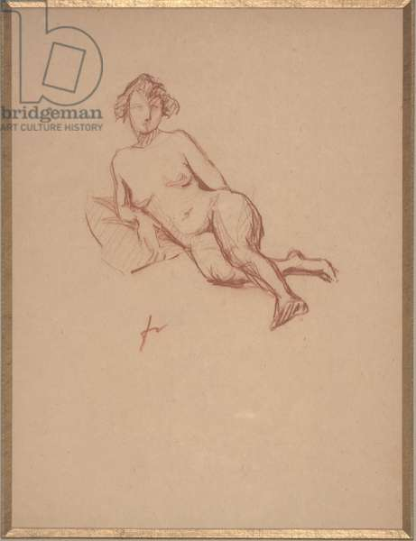Reclining Female Nude (red chalk on paper)