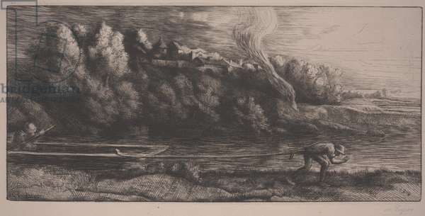 Landscape with boat (etching)
