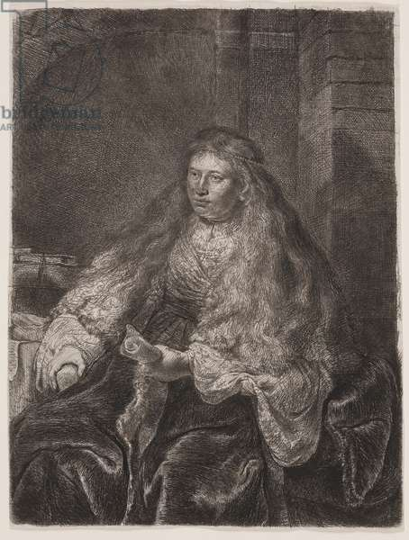 """Girl with Long Hair Falling on Her Shoulders, or """"The Great Jewish Bride"""", 1635 (etching & drypoint)"""