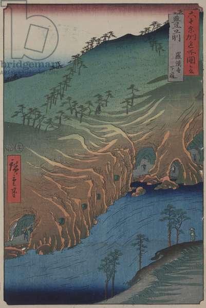 The Road Below the Rakan Temple in Buzen Province, 1853-1856 (color woodcut)