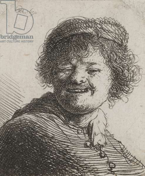 Rembrandt in a Cap, Laughing: Bust, 1630 (etching)