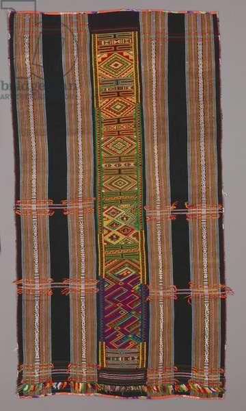 Woman's skirt with bomber motif (unseamed), Mid-20th century (cotton and acrylic yarns. two outer panels: warp-faced plain weave with warp stripes and warp-patterned stripes; center panel: warp-faced plain weave with embroidery.)