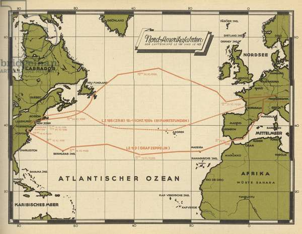 Map showing the transatlantic routes taken by LZ 126 in October 1924 and LZ 127 Graf Zeppelin in October 1928, 1932 (colour litho)