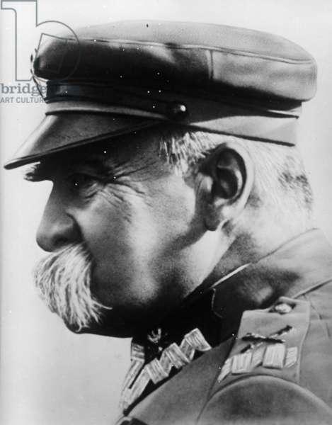 Portrait of Polish statesman Jozef Pilsudski (b/w photo)