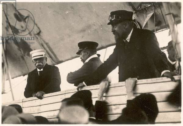 "Count Ferdinand von Zeppelin and Hugo Eckener, manager of the Luftschiffbau Zeppelin in the gondola of the Zeppelin LZ10 ""Schwaben"", Friedrichshafen, 26 September 1907 (b/w photo)"