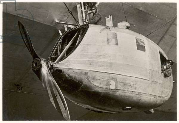 Behind the bow of the gondola on the Graf Zeppelin, from 'Zeppelin-Weltfahrten' (silver bromide print)