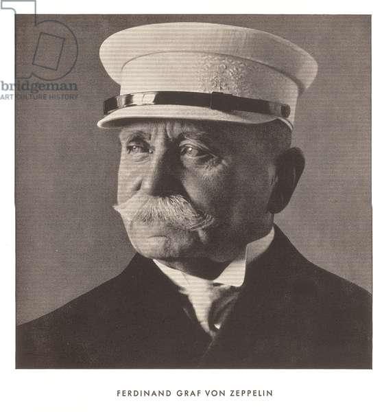 Portrait of Ferdinand, Graf von Zeppelin, from 'Zeppelin-Weltfahrten' (litho)