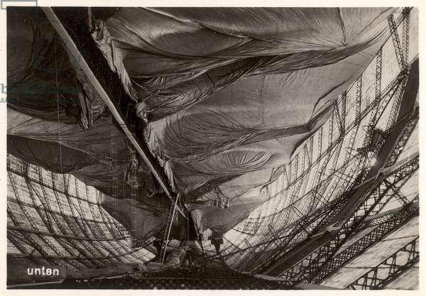 Picture No. 83: Image of an airship being filled with gas, nearly at capacity' from 'Zeppelin-Weltfahrten...', 1933 (silver bromide print)