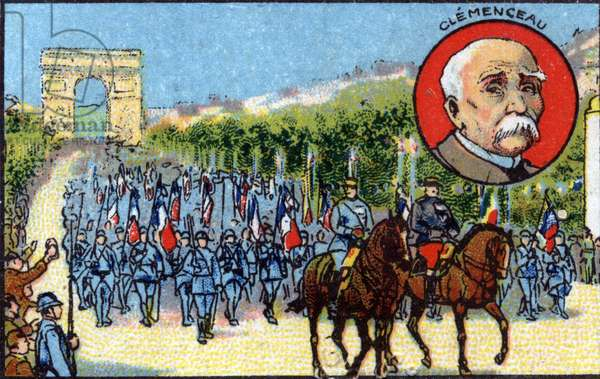 First World War 1914-1918: The Defile of Victory on July 14, 1919 in Paris with portrait of Georges Clemenceau (1841-1929). Chromolithography of 1936.