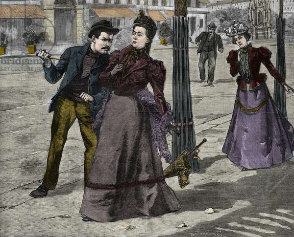 The Assassination of Empress Elisabeth of Austria (Sissi) by Italian anarchist Luigi Lucheni, in Geneva, 1898, Engraving - Assassination of Impress Elisabeth of Austria (Sissi) by Italian anarchist Luccheni in Geneva, 1898