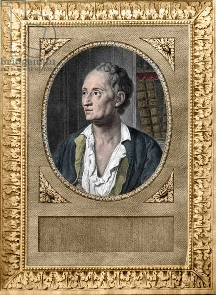 Portrait of Denis Diderot (1713-84) - Portrait of Denis Diderot (1713-1784), French writer and philosopher, behind him two volumes of the Encyclopedie