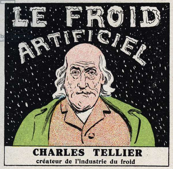 The cold industry: artificial cold invented by Charles Tellier (1828-1913). Anonymous illustration from 1925. Private collection.