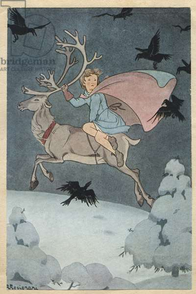 """Gerda on the back of the reindeer leave for Lapland Illustration by Angela Resignani for the new """"The little girl of the robbers"""""""" in """"The snow queen, tale in seven stories"""" in """""""" meravigliosi racconti"""""""" (The fantastic news) by Hans Christian ANDERSEN (1805-1875), Danish novelist and poet, famous for his tales fees. 1945. Private collection. DR"""