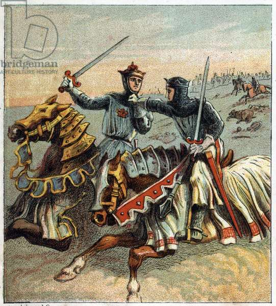 100-year war: Battle of Crecy on August 26, 1346. An English knight chasing a French knight. Battle of Crecy: English Knight pursuing a French Knight off the field.