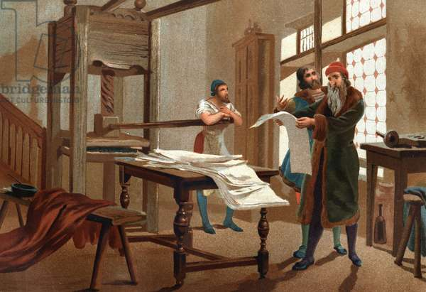 Johannes Gutenberg (1400-1468), German printer, printing the first sheet of the Bible. after hombres y Mujeres celebres. Barcelona 1877.