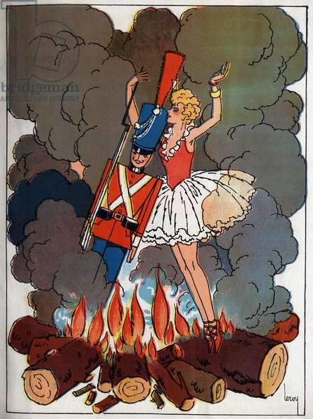 """The lead soldier in the fire near a ballerina doll. Engraving in """"The intrepide soldier of lead"""", tale by Hans Christian Andersen (1805-1875), 1940"""