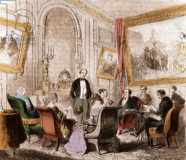 """Francois Rene de Chateaubriand (1768-1848), French writer and politician, reading the """"Memoires d'Outre-Tomb"""" in Madame Recamier's living room at Abbey-au-Bois, rue de Sevres, Paris - Engraving"""