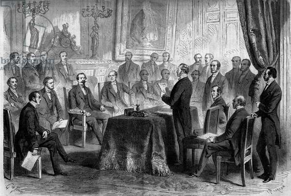 """Third Republic: meeting of the Council of State at the Tuileries in the presence of Napoleon III (1808-1873) and Baron Eugene Georges Haussmann, prefet of Paris (1809-1891). Engraving in """""""" Le Monde Illustrée"""""""" n°291 of 8 November 1862."""
