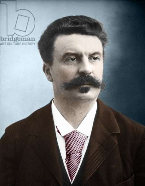 Guy de Maupassant (1850-1893) (Private Collection) (Portrait of the French writer Guy de Maupassant.