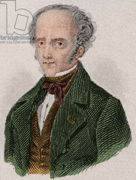 Portrait of Francois Rene, Viscount de Chateaubriand (1768-1848) French writer. Engraving from 1876.