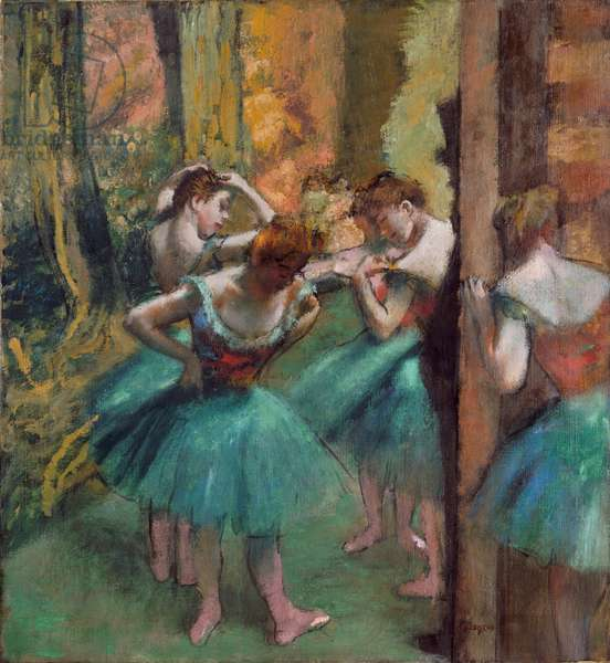 Dancers in pink and green (Dancers, Pink and Green) (oil on canvas)