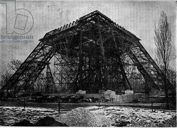 "State of the construction of the Eiffel Tower in Paris at the beginning of March 1888, Engraving in the journal """" la jeunesse"""", 1888."