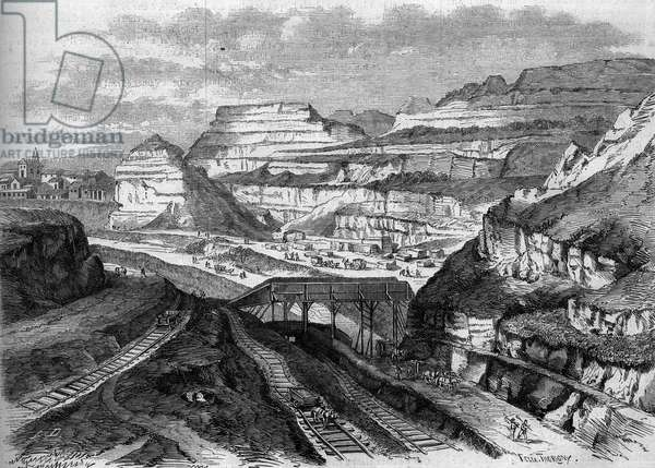 "Transformations of Paris under the Second Empire, Paris Haussmann: transformation into a park of the plaster quarries of Buttes-Chaumont (Buttes Chaumont). Engraving in """" Le Monde Illustrée"""" n°306 of 21 February 1863."