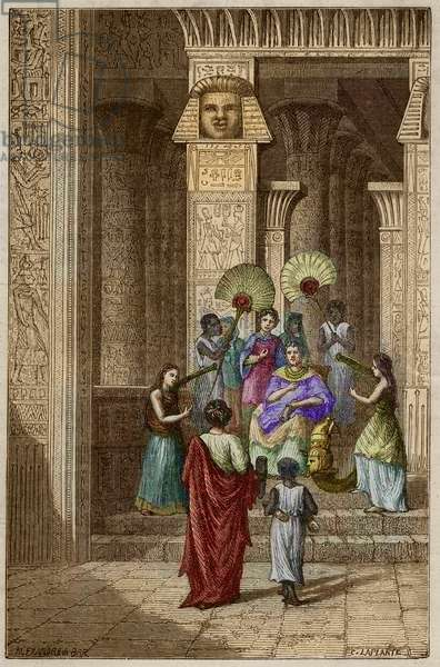 """Euclid presenting to Ptolemy Soter (Ptolemy I Soter) his work on the elements of geometry - Euclid (325-265 BC) Greek mathematician presented to Ptolemee I (360-283 BC) Soter (savior) ses elements de geometrie - engraving in """""""" Vie des savants illustres de l'antiquite"""""""" by Louis Figuier."""
