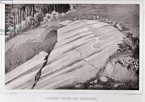 Polished rocks and striated by an ancient glacier, represented in 1840 by Louis Agassiz (1807-1873) Swiss naturalist - Engraving of the 19th century - Private collection Milan