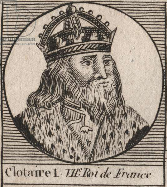 """Portrait of Clothaire I (497 - 561), King of Neustria and King of the Franks - Clothar I, King of the Franks - engraving from """"Instruction sur l'Histoire de France"""""""" by Charles Constant Le Tellier 1821"""
