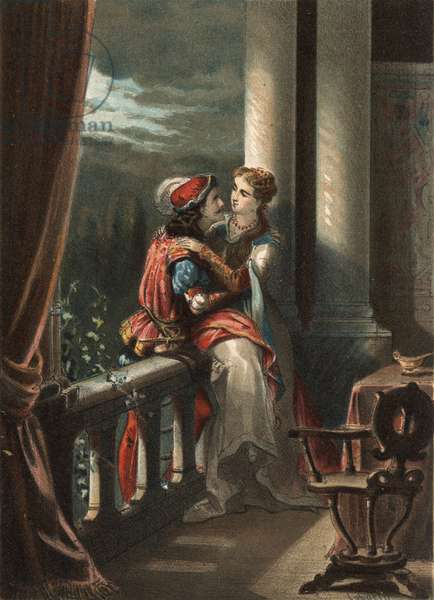 """Romeo and Juliet, a tale by Masuccio Salernitano (Masuccio de Salerno), at the end of the 15th century. in """""""" El Culto de la Hermosura"""""""" by Juan Justo Huguet, Molinas Hermanos editores, 1880 (volume 1) & 1881 (volume 2)."""