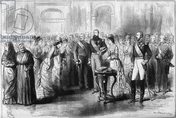 """Silver Wedding of the King and Queen of the Belgians, 1878: Present gifts to Queen Marie Henriette (Marie-Henriette) (1836-1902) by the ladies delegates of the provinces, in the presence of King Leopold II (1835-1909). Engraving in """""""" Le Monde Illustré"""""""" n°1119 of 7 September 1878."""