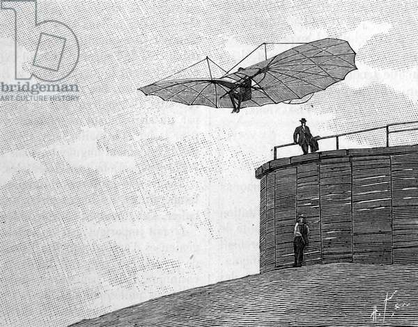 """Otto Lilienthal (1848-1896), German aeronautics pioneer, leaping from his wooden tower with his flying aircraft (from an instant photograph). Engraving in """""""" La Nature: revue des sciences et de leurs applications aux arts et a l'industrie"""""""" of 3 February 1894."""