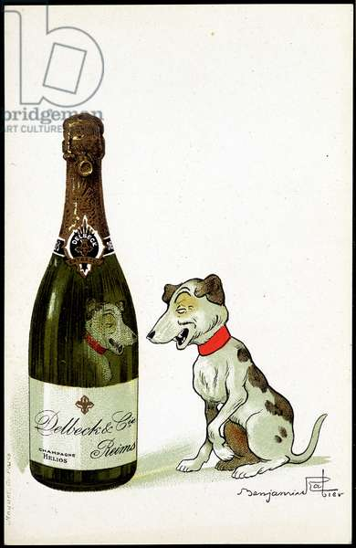 """Cardboard for champagne """""""" Delbeck et Cie, Reims"""""""", illustration by Benjamin Rabier (1864-1939), sd. early 20th century."""