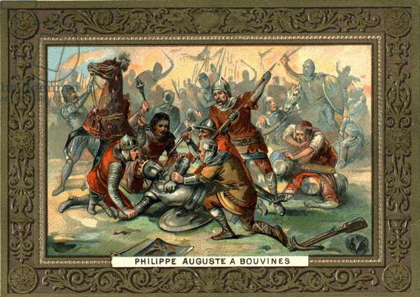 Philippe Auguste in Bouvines in 1214. 19th century chromolithography Coll. Bianchetti.