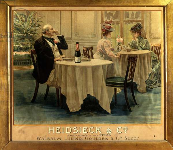 In a restaurant - Advertising poster for Champagne Heidsieck, late 19th century