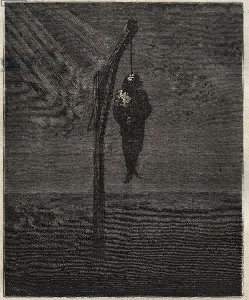 """The Hanging of John Brown - Hanging December 2, 1859 by John Brown (1800-1859) American abolitionist, based on the drawing by Victor Hugo, grave by Paul Chenay - Engraving in """""""" Causes celebres de tous les peuples"""""""" by Armand Fouquier (1817-18?) 1858-1867 - private collection"""