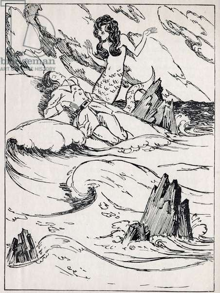 """The little siren finds the Noye Prince on the beach. Engraving in """""""" La petite sirene"""""""", tale by Hans Christian Andersen (1805-1875), 1940."""